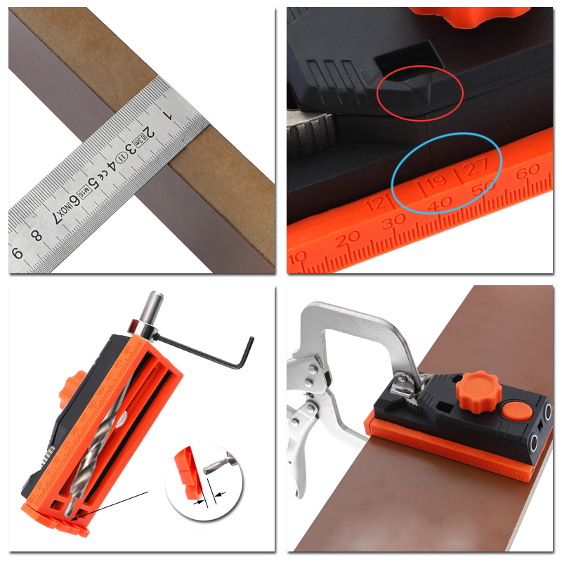 2 In 1 Pocket Hole Jig 6/8/10/12mm Dowel Jig Carpentry Locator Doweling Jig Hole Drill Guide DIY Woodworking Tools