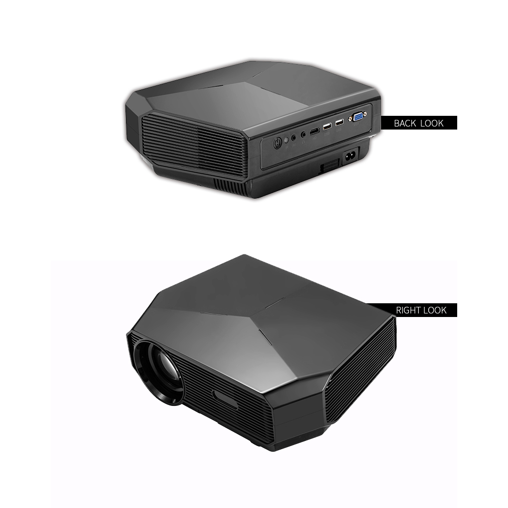 BROOK A4300 Projector 3200 Lumens 3000:1 Contrast Ratio 1280*720P Native Resolution Supported 1080P 23 Languages Home Theater Video Projector
