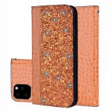 Crocodile Texture Glitter Powder Horizontal Flip Leather Case with Card Slots & Holder for iPhone 11 (Orange)