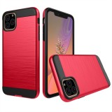 Brushed Texture Shockproof Rugged Armor Protective Case for iPhone 11 Pro Max (Red)