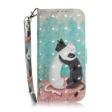 3D Painting Pattern Coloured Drawing Horizontal Flip Leather Case with Holder & Card Slots & Wallet for Huawei P20 Lite (2019) / Nova 5i (Black White Cat)