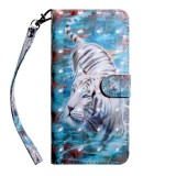 3D Painting Pattern Coloured Drawing Horizontal Flip TPU + PU Leather Case with Holder & Card Slots & Wallet For Huawei Honor 8A Pro (Tiger)