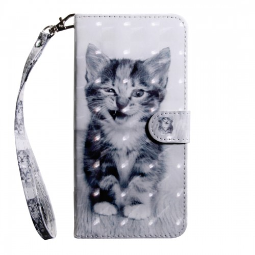 3D Painting Pattern Coloured Drawing Horizontal Flip TPU + PU Leather Case with Holder & Card Slots & Wallet For Huawei P30 Lite / Nova 4e (Smile Cat)