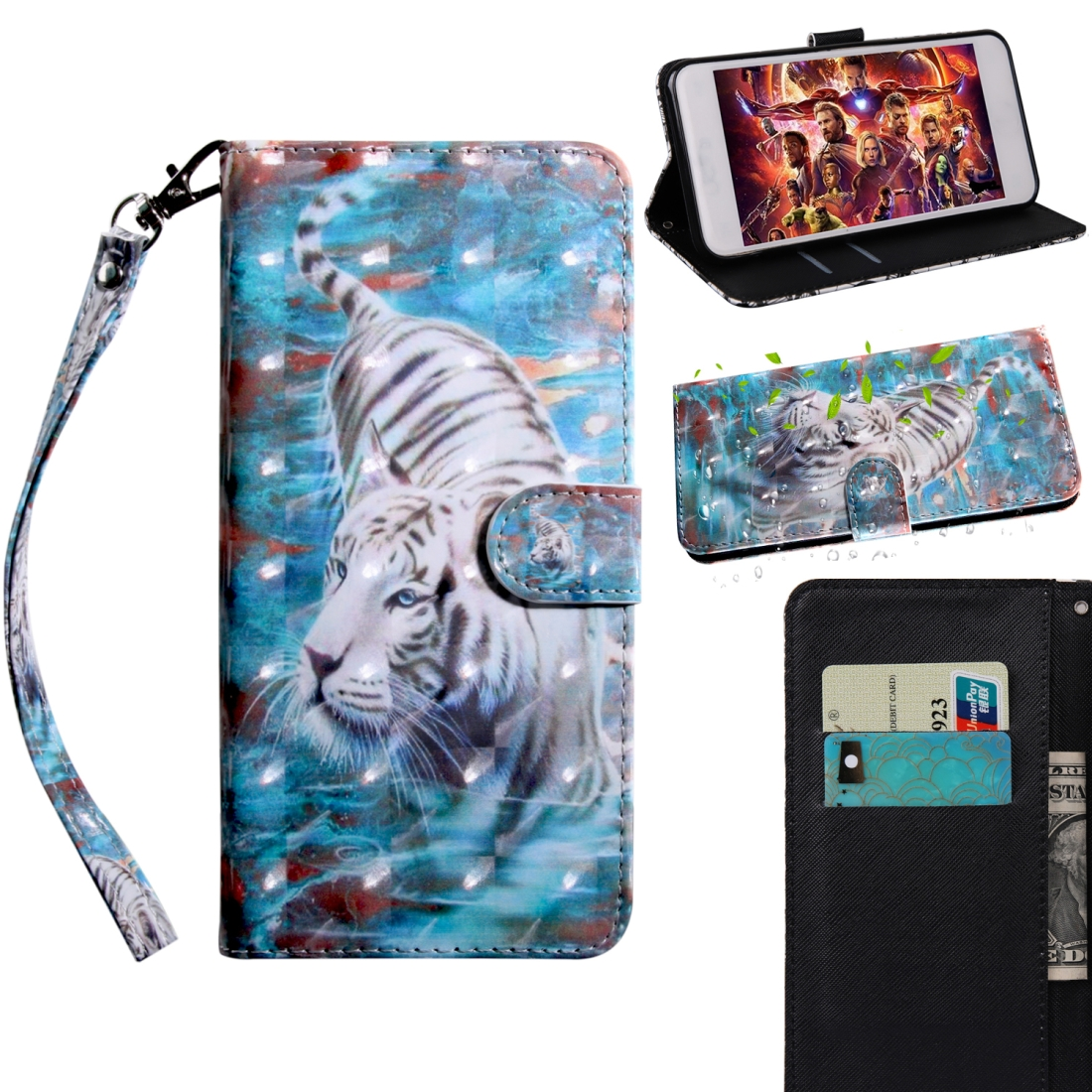 3D Painting Pattern Coloured Drawing Horizontal Flip TPU + PU Leather Case with Holder & Card Slots & Wallet For Huawei P30 Lite / Nova 4e (Tiger)