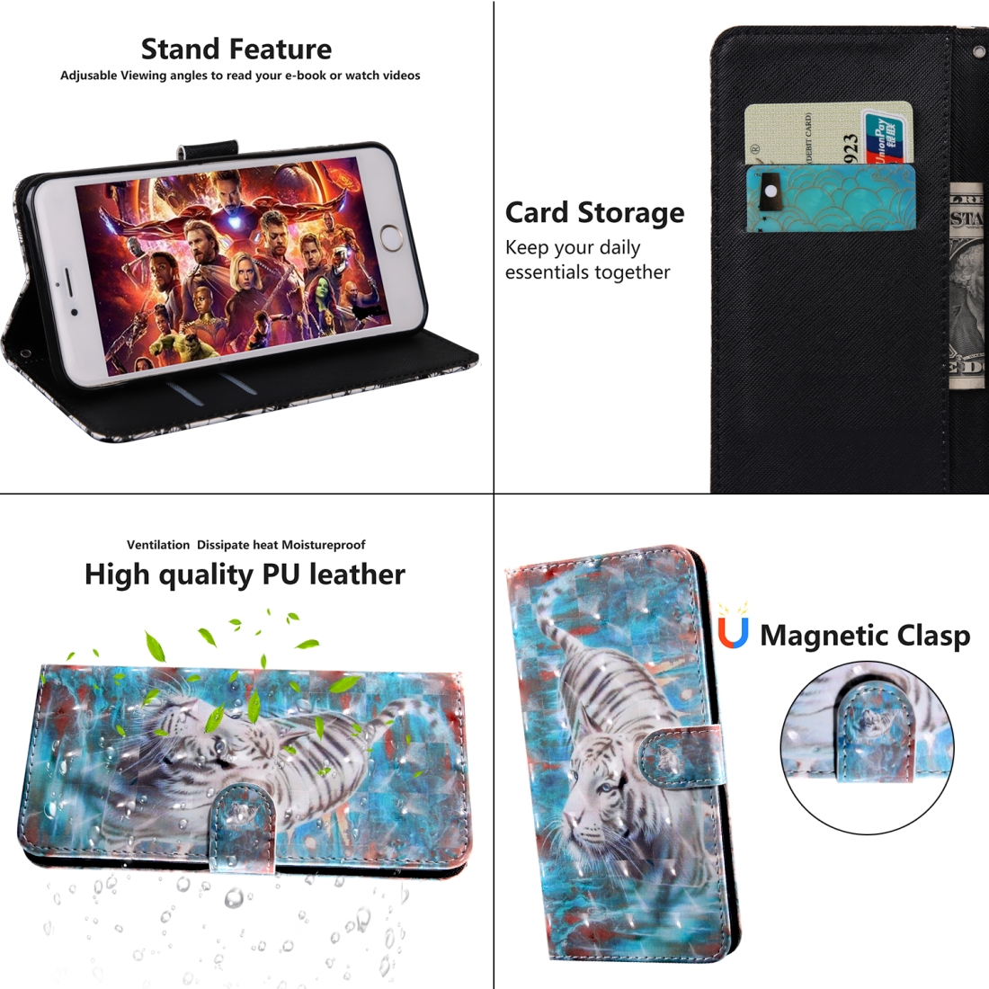 3D Painting Pattern Coloured Drawing Horizontal Flip TPU + PU Leather Case with Holder & Card Slots & Wallet For Huawei P30 (Tiger)