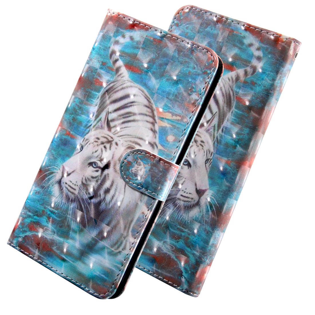 3D Painting Pattern Coloured Drawing Horizontal Flip TPU + PU Leather Case with Holder & Card Slots & Wallet for Huawei Y6 (Tiger)