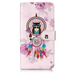 Oil Embossed Coloured Drawing Pattern Horizontal Flip PU Leather Case with Holder & Card Slots & Wallet & Photo Frame For Galaxy A10 / M10 (Owl Wind Chimes)