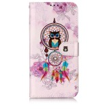Oil Embossed Coloured Drawing Pattern Horizontal Flip PU Leather Case with Holder & Card Slots & Wallet & Photo Frame For Galaxy A20 / A30 (Owl Wind Chimes)