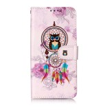 Oil Embossed Coloured Drawing Pattern Horizontal Flip PU Leather Case with Holder & Card Slots & Wallet & Photo Frame For Galaxy A20e (Owl Wind Chimes)