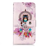 Oil Embossed Coloured Drawing Pattern Horizontal Flip PU Leather Case with Holder & Card Slots & Wallet & Photo Frame For Galaxy A40 (Owl Wind Chimes)