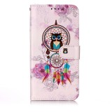 Oil Embossed Coloured Drawing Pattern Horizontal Flip PU Leather Case with Holder & Card Slots & Wallet & Photo Frame For Galaxy A50 (Owl Wind Chimes)