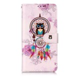 Oil Embossed Coloured Drawing Pattern Horizontal Flip PU Leather Case with Holder & Card Slots & Wallet & Photo Frame For Huawei P30 Lite (Owl Wind Chimes)