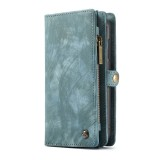 CaseMe-008 Detachable Multifunctional Horizontal Flip Leather Case with Card Slot & Holder & Zipper Wallet & Photo Frame for Galaxy A20e (Blue)