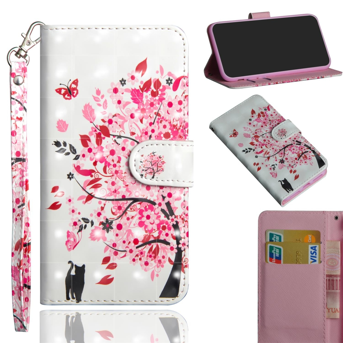3D Painting Pattern Coloured Drawing Horizontal Flip TPU + PU Leather Case with Holder & Card Slots & Wallet for Huawei P20 Lite / Nova 5i (Tree Cat)