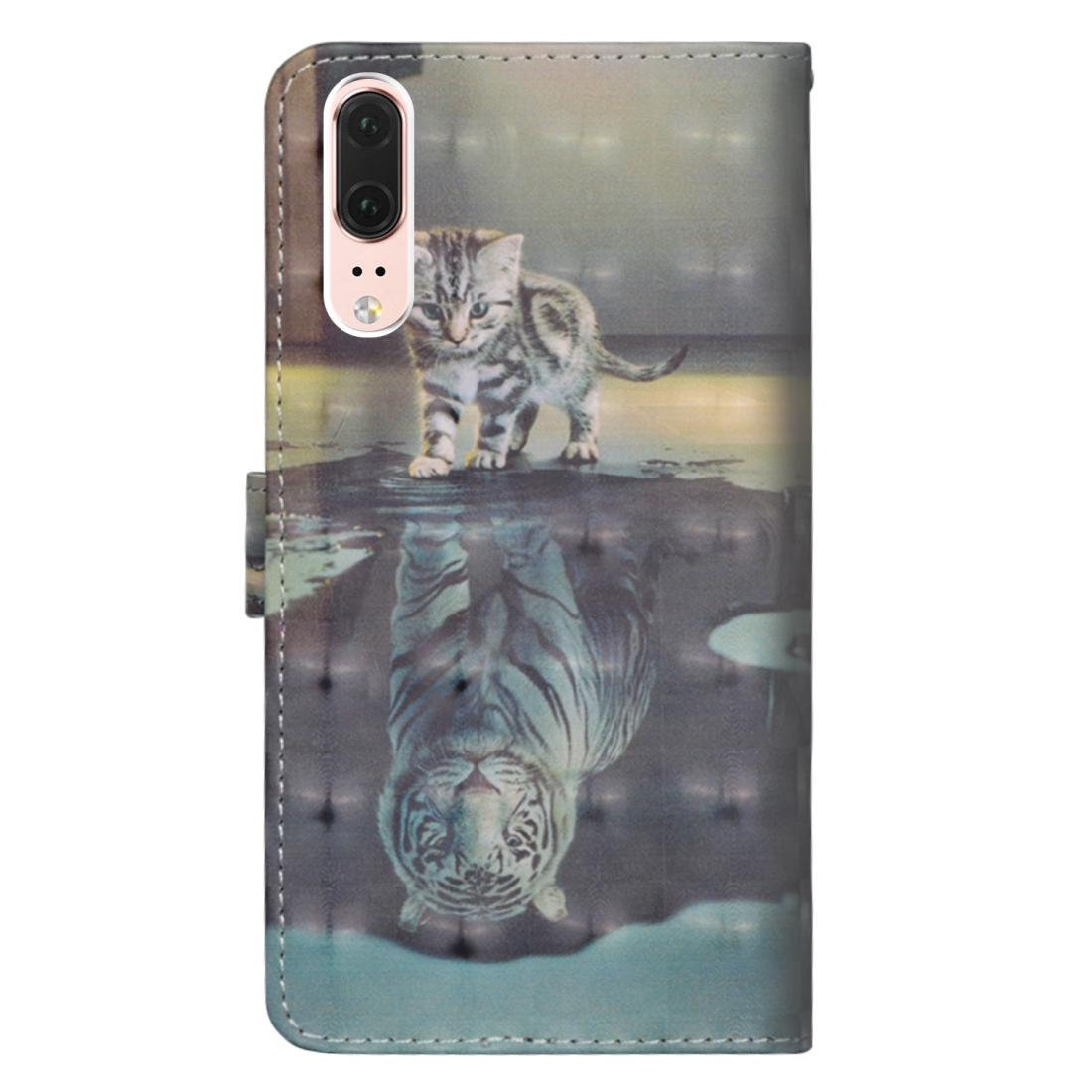 3D Painting Pattern Horizontal Flip TPU + PU Leather Case with Holder & Card Slots & Wallet For Huawei P20 (Cat Tiger)