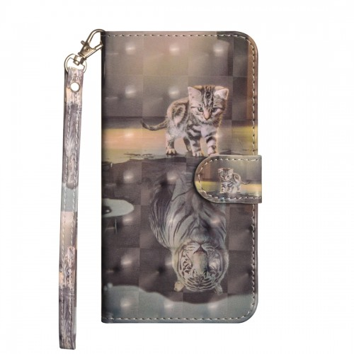 3D Painting Pattern Horizontal Flip TPU + PU Leather Case with Holder & Card Slots & Wallet For Huawei P30 (Cat Tiger)