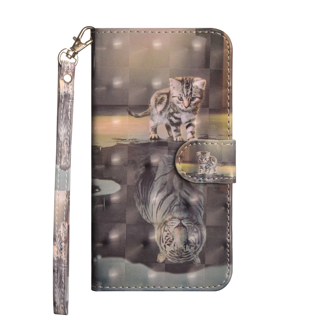 3D Painting Pattern Horizontal Flip TPU + PU Leather Case with Holder & Card Slots & Wallet For Huawei Mate 20 Lite (Cat Tiger)