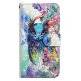 3D Painting Pattern Horizontal Flip TPU + PU Leather Case with Holder & Card Slots & Wallet For Huawei Mate 20 Lite (Watercolor Owl)