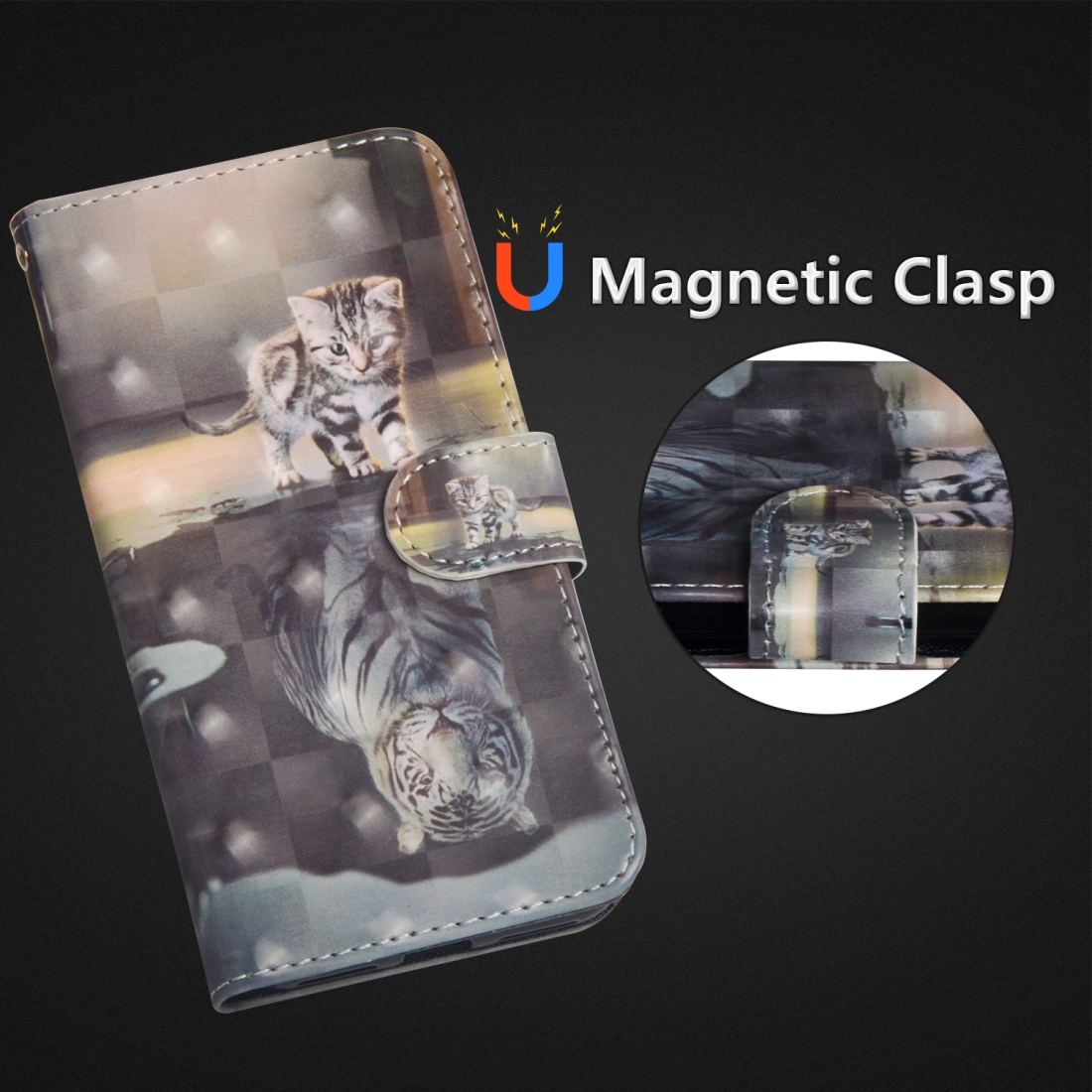 3D Painting Pattern Horizontal Flip TPU + PU Leather Case with Holder & Card Slots & Wallet For Huawei P Smart Z (Cat Tiger)