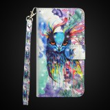 3D Painting Pattern Horizontal Flip TPU + PU Leather Case with Holder & Card Slots & Wallet For Huawei P Smart Z (Watercolor Owl)