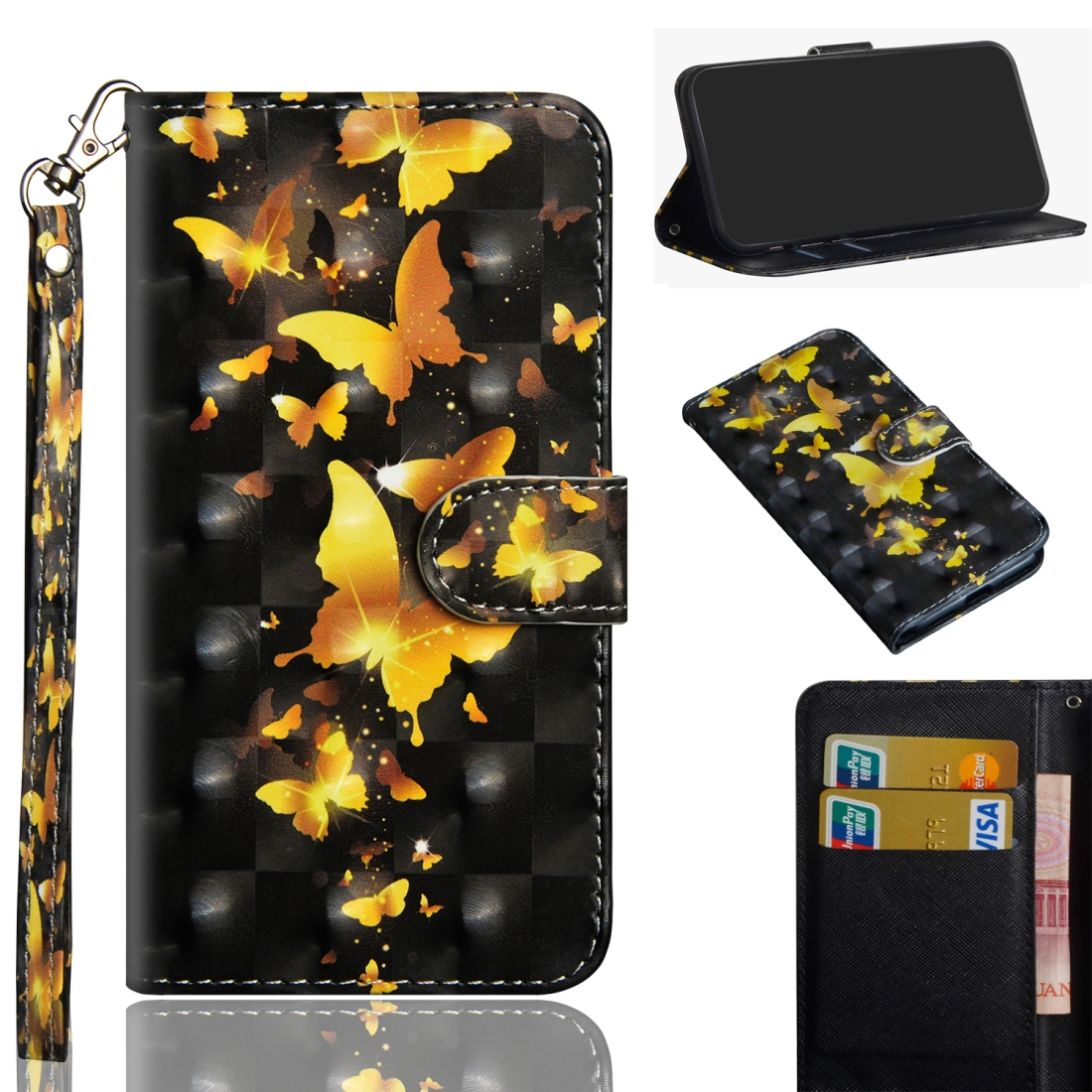 3D Painting Pattern Horizontal Flip TPU + PU Leather Case with Holder & Card Slots & Wallet For Huawei P30 Lite / Nova 4e (Golden Butterfly)