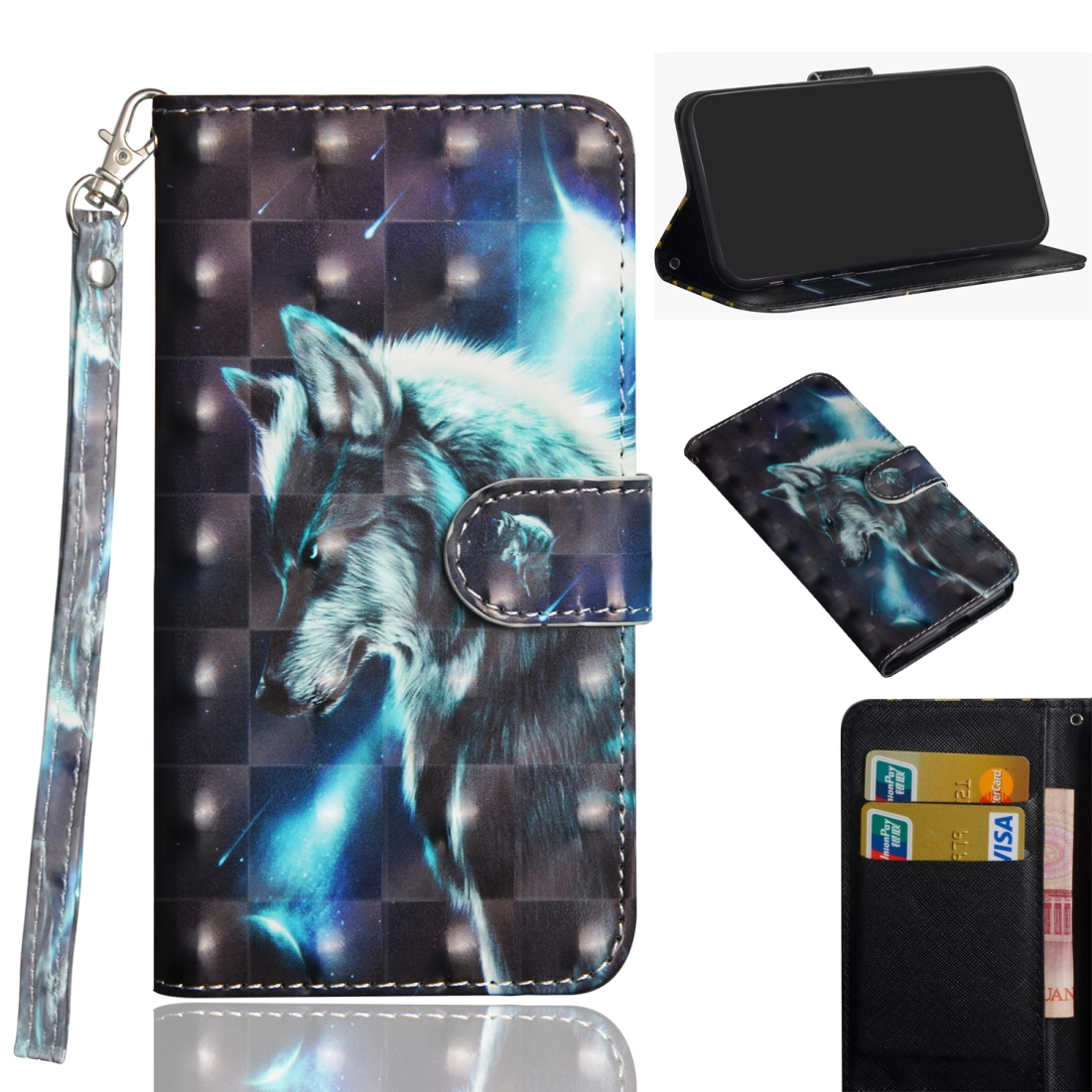 3D Painting Pattern Horizontal Flip TPU + PU Leather Case with Holder & Card Slots & Wallet For Huawei P30 Lite / Nova 4e (Wolf)