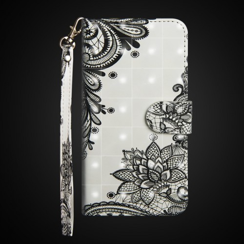 3D Painting Pattern Horizontal Flip TPU + PU Leather Case with Holder & Card Slots & Wallet For Huawei P30 Lite / Nova 4e (Black Flower)