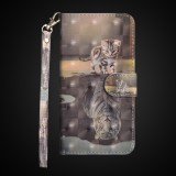 3D Painting Pattern Horizontal Flip TPU + PU Leather Case with Holder & Card Slots & Wallet For Huawei P30 Lite / Nova 4e (Cat Tiger)