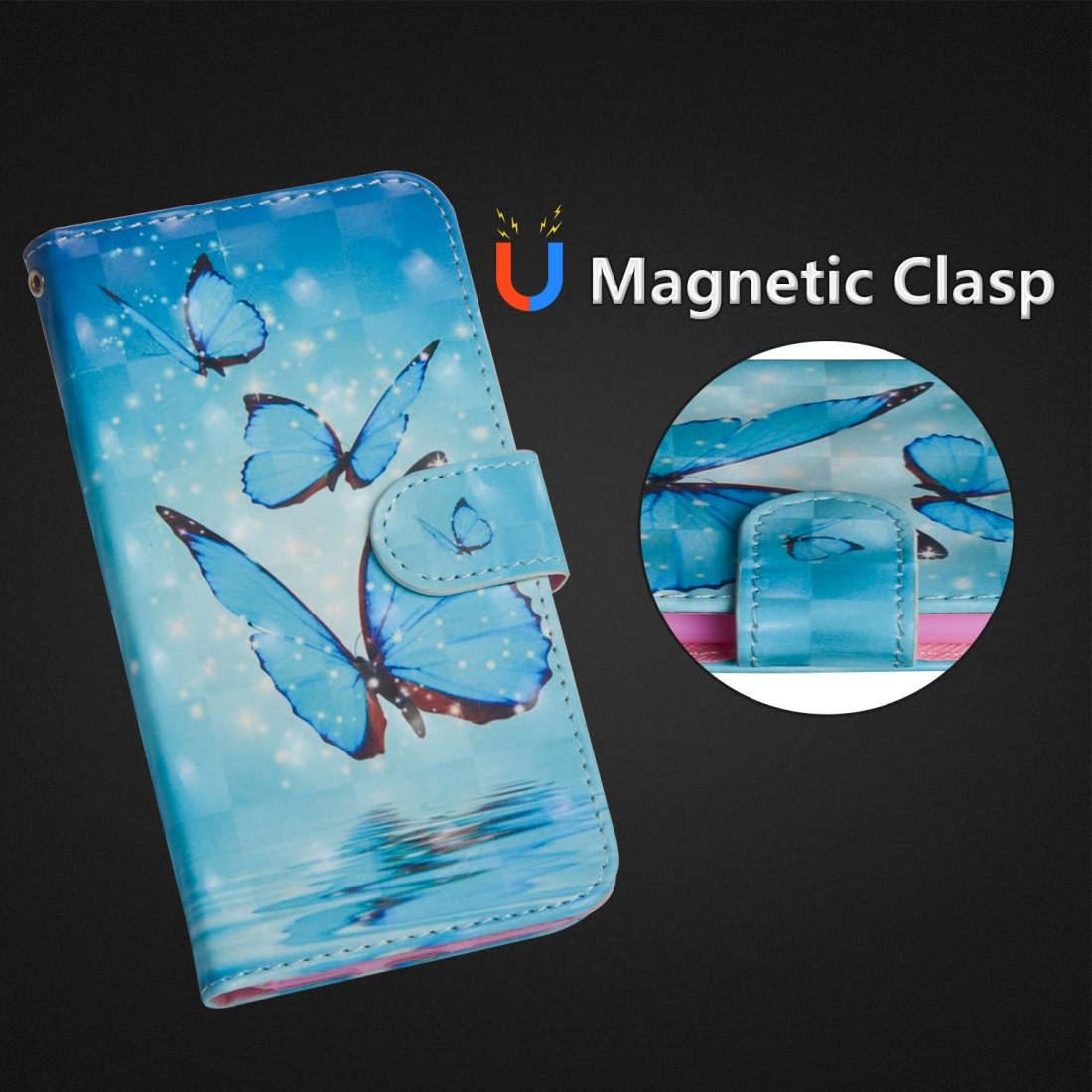 3D Painting Pattern Horizontal Flip TPU + PU Leather Case with Holder & Card Slots & Wallet For Huawei P30 Lite / Nova 4e (Three Butterfly)