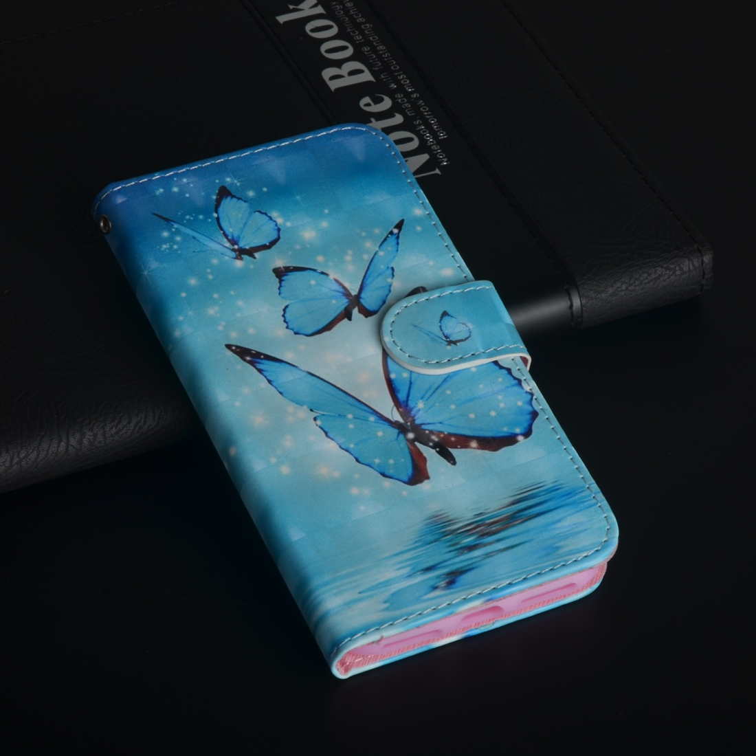 3D Painting Pattern Horizontal Flip TPU + PU Leather Case with Holder & Card Slots & Wallet For Huawei Y5 (2019) (Three Butterfly)