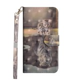 3D Painting Pattern Horizontal Flip TPU + PU Leather Case with Holder & Card Slots & Wallet For Huawei Honor 8X (Cat Tiger)