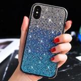 TPU + Epoxy Flash Diamond Tri-Color Gradient Phone Protective Case for iPhone XS / X (Gradient Blue)