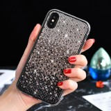 TPU + Epoxy Flash Diamond Tri-Color Gradient Phone Protective Case for iPhone XS / X (Gradient Black)