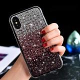 TPU + Epoxy Flash Diamond Tri-Color Gradient Phone Protective Case for iPhone XS / X (Gradient Purple)
