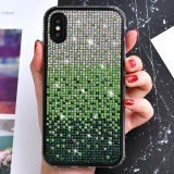 TPU + Epoxy Flash Diamond Tri-Color Gradient Phone Protective Case for iPhone XS / X (Gradient Green)