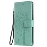 Tree & Cat Pattern Pressed Printing Horizontal Flip PU Leather Case with Holder & Card Slots & Wallet & Lanyard For Huawei P20 Lite 2019 / Nova 5i (Green)