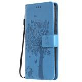 Tree & Cat Pattern Pressed Printing Horizontal Flip PU Leather Case with Holder & Card Slots & Wallet & Lanyard For Huawei P20 Lite 2019 / Nova 5i (Blue)
