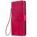 Tree & Cat Pattern Pressed Printing Horizontal Flip PU Leather Case with Holder & Card Slots & Wallet & Lanyard For Huawei P20 Lite 2019 / Nova 5i (Rose Red)