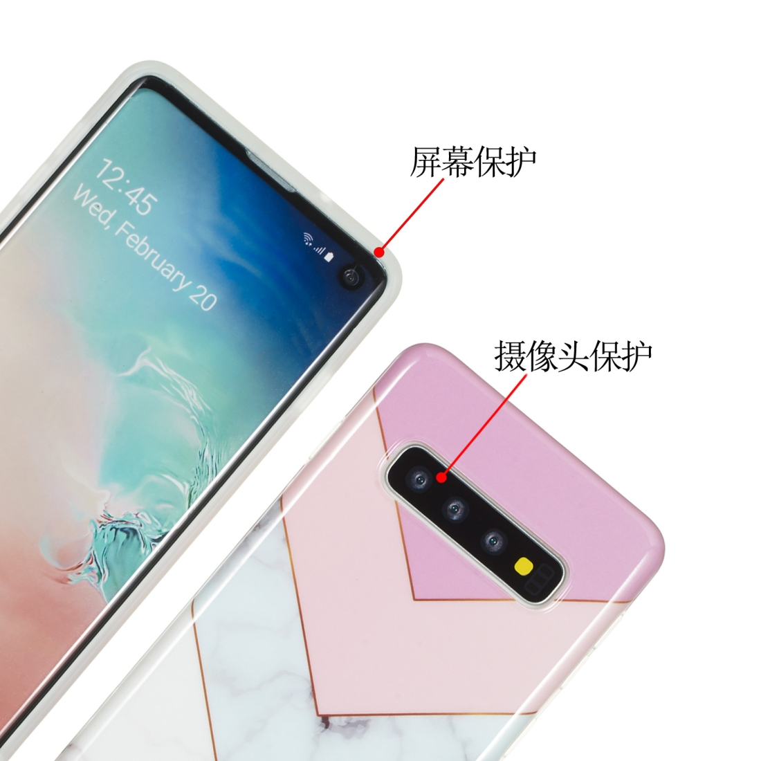 TPU Protective Case For Galaxy S10 (Stitching Tricolor)