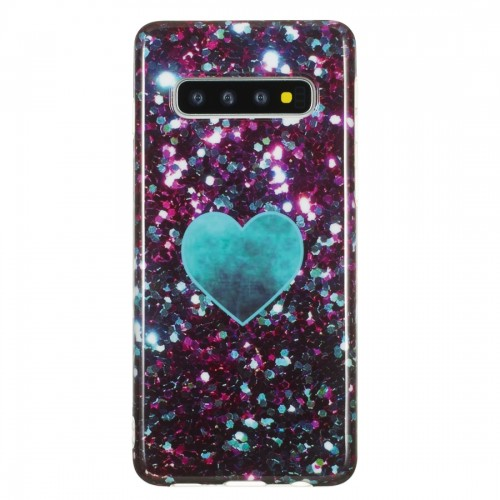TPU Protective Case For Galaxy S10 (Green Heart)