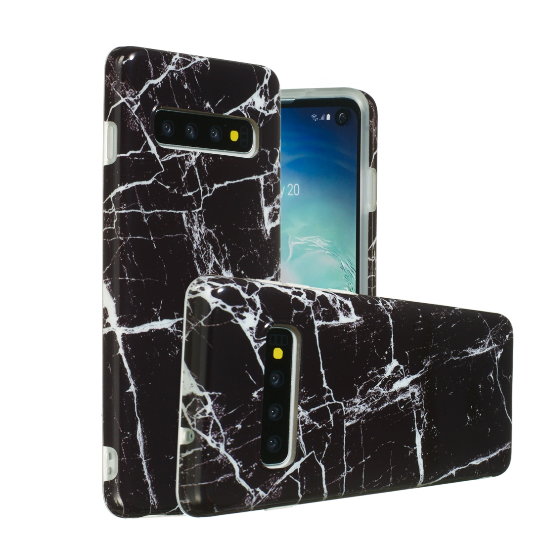 TPU Protective Case For Galaxy S10 (Black Marble)