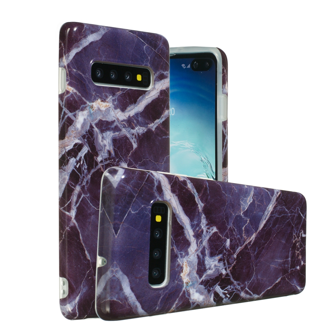 TPU Protective Case For Galaxy S10 (Gray Marble)