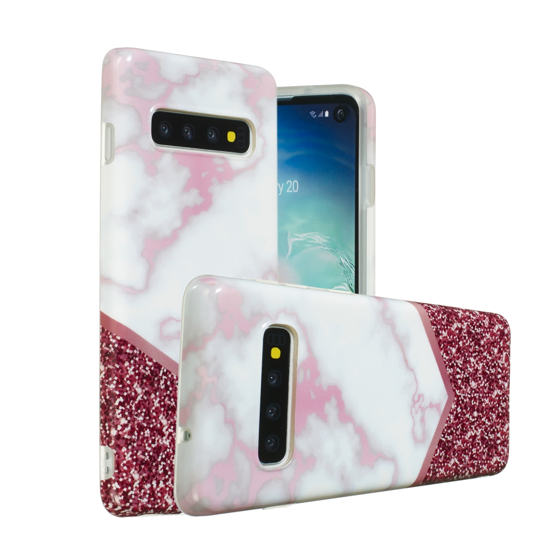 TPU Protective Case For Galaxy S10 (Rose Flash Marble)