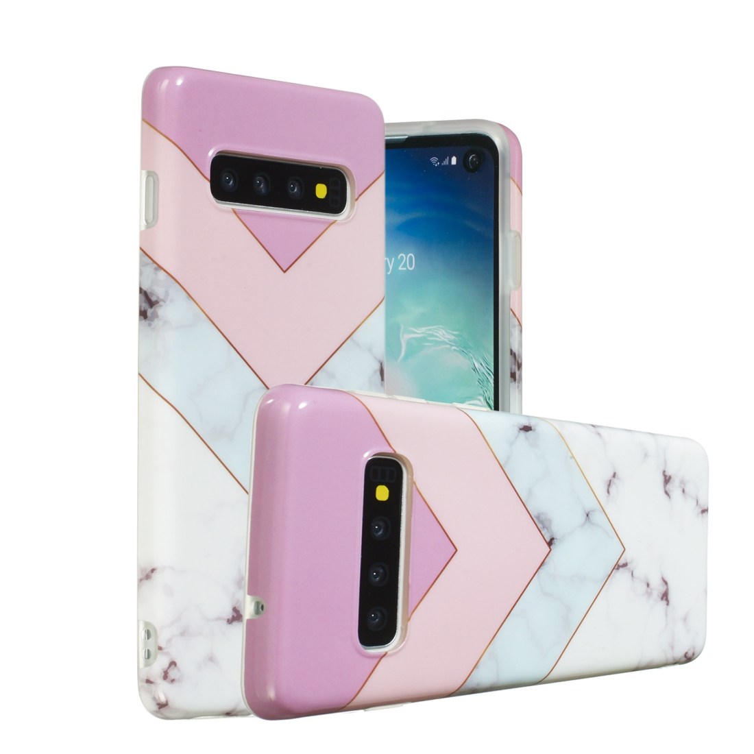 TPU Protective Case For Galaxy S10 Plus (Stitching Tricolor)
