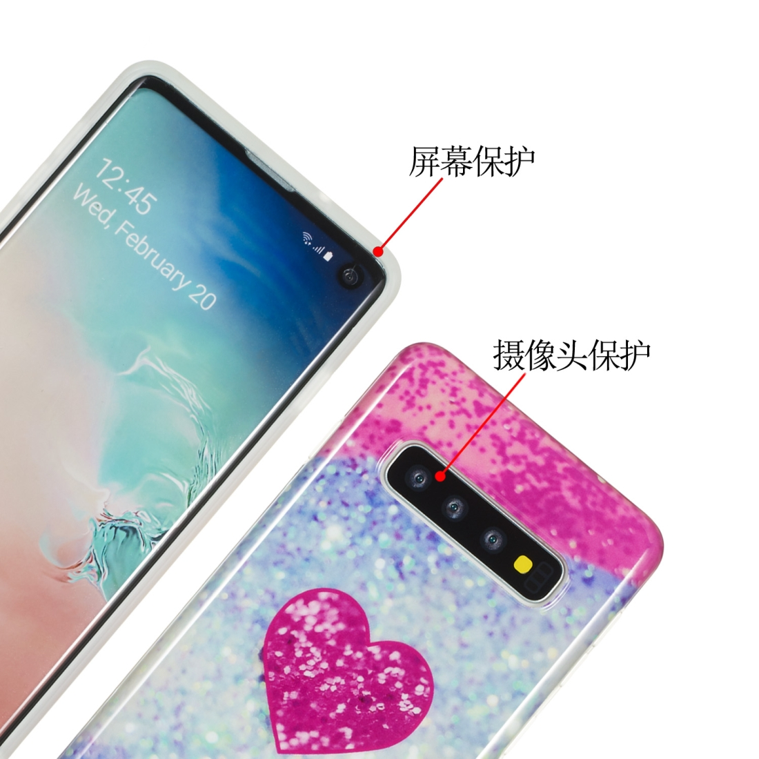 TPU Protective Case For Galaxy S10 Plus (Red Heart)