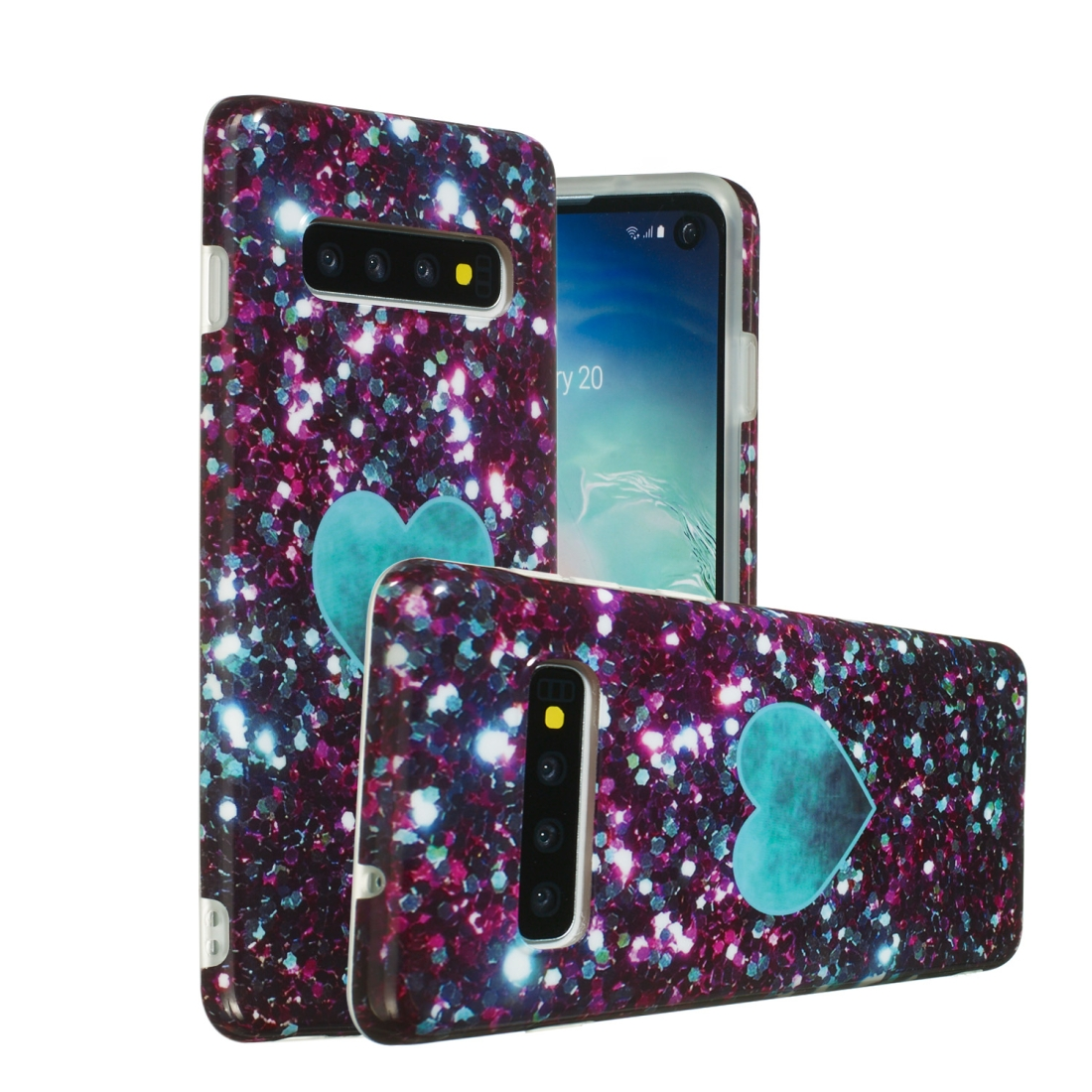 TPU Protective Case For Galaxy S10 Plus (Green Heart)