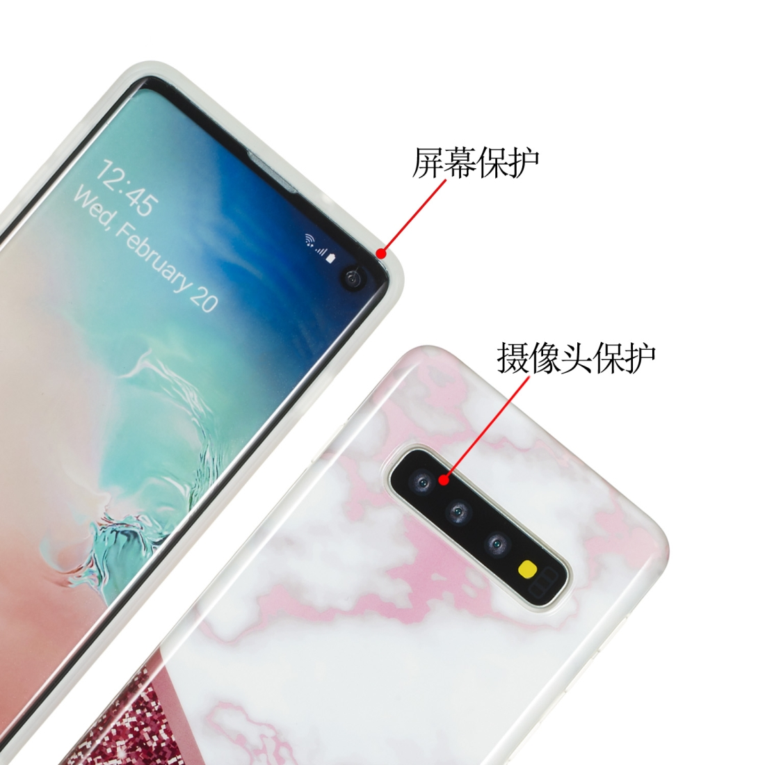 TPU Protective Case For Galaxy S10 Plus (Rose Flash Marble)