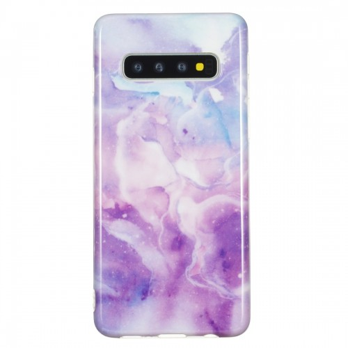 TPU Protective Case For Galaxy S10 Plus (Purple Marble)