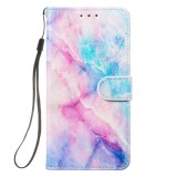 Leather Protective Case For Galaxy S10 (Blue Pink Marble)