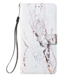 Leather Protective Case For Galaxy S10 Plus (White Marble)